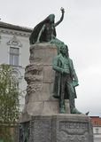 Estátua do poeta esloveno France Preseren em Ljubljana, Eslovênia foto de stock royalty free