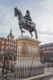 Estátua do rei Philips III no prefeito da plaza, Madri imagem de stock