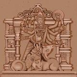 Estátua do vintage da deusa indiana Durga Sculpture Foto de Stock