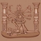 Estátua do vintage da deusa indiana Kali Sculpture Imagens de Stock Royalty Free