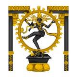 Estátua do vintage da escultura de Lord Shiva Nataraja do indiano gravada na pedra ilustração do vetor