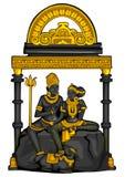 Estátua do vintage da escultura de Lord Shiva Parvati do indiano gravada na pedra ilustração royalty free