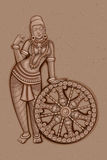 Estátua do vintage da escultura fêmea indiana ilustração stock