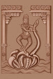 Estátua do vintage da escultura indiana de Saraswati da deusa Imagens de Stock Royalty Free