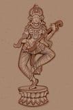 Estátua do vintage da escultura indiana de Saraswati da deusa Foto de Stock Royalty Free