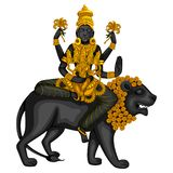 A estátua do vintage da escultura indiana uma de Skanda Mata da deusa do avatar de Navadurga gravou na pedra ilustração do vetor