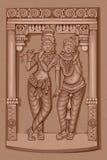 Estátua do vintage do deus indiano Radha e Krishna Sculpture Fotografia de Stock