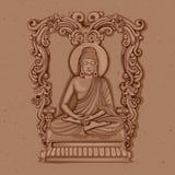 Estátua do vintage do indiano Lord Buddha Sculpture ilustração do vetor