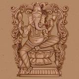 Estátua do vintage do indiano Lord Ganesha Sculpture Fotos de Stock Royalty Free