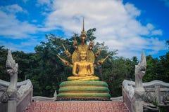 A estátua dourada bonita da Buda com sete Naga de Phaya dirige abaixo Fotos de Stock