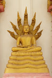 Estátua dourada de buddha Buda e sete cabeças da serpente, Imagens de Stock