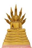 Estátua dourada de buddha Buda e sete cabeças da serpente, Fotos de Stock