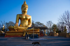 Estátua dourada de Buddha, Wat Phra Yai, Pattaya Imagens de Stock Royalty Free