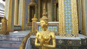 Estátua dourada de Kinnari no templo de Emerald Buddha Wat Phra Kaew em Royal Palace grande, Banguecoque Tailândia vídeos de arquivo