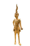 Estátua dourada de Kinnari no templo, Wat Phra Kaew no palácio grande Foto de Stock