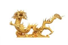 Estátua dourada do dragão Fotografia de Stock