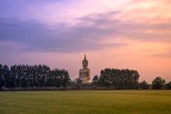Estátua dourada grande de buddha em Wat Maung Temple Fotos de Stock