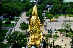 Estátua dourada ou Shachihoko dos peixes do dragão na parte superior do telhado e em v aéreo Imagem de Stock