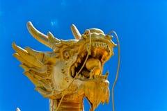 Estátua dourada poderosa do dragão Imagem de Stock