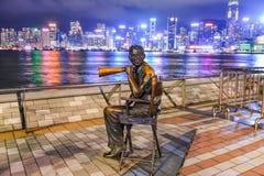 Estátua e skyline na avenida das estrelas Fotos de Stock Royalty Free