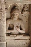 Estátua em Ajanta, complexo de Buddha do templo da caverna, India Foto de Stock Royalty Free
