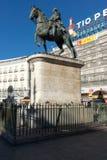 Estátua equestre de Carlos III em Puerta del Sol no Madri, Espanha Imagem de Stock