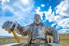 Estátua equestre 2008 de Genghis Khan fotografia de stock