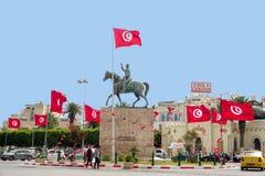 Estátua equestre de Habib Bourguiba em Sousse, Tunísia fotos de stock royalty free