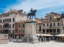 A estátua equestre do condottiere Bartolomeo Colleoni (1479) Fotografia de Stock Royalty Free