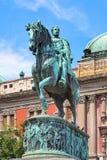 Estátua equestre do príncipe Mihailo Obrenovic em Belgrado, Serbi Foto de Stock Royalty Free