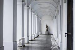 Estátua fêmea na extremidade de uma aleia brilhante do salão com paredes brancas imagens de stock