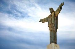 A estátua gigante de Cristo o redentor em Pico Isabel de Torres em Puerto Plata, República Dominicana Uma versão mais em escala r foto de stock