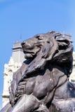 Estátua grande do leão em Barcelona, Espanha Imagem de Stock