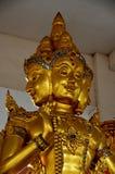 Estátua hindu do ouro de Brahma do deus em Tailândia Fotos de Stock
