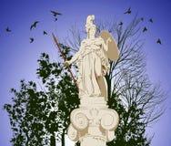 Estátua histórica de Athena com pássaros ilustração royalty free
