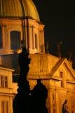 Estátua na noite Fotos de Stock
