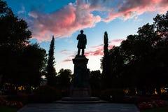 Estátua no crepúsculo Fotografia de Stock Royalty Free