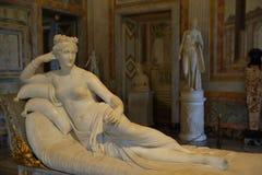 Estátua Pauline Bonaparte por Antonio Canova na galeria Borghese imagens de stock royalty free