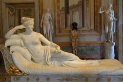 Estátua Pauline Bonaparte por Antonio Canova na galeria Borghese imagens de stock
