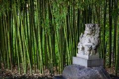 Estátua tradicional de Shi Shi Dog ou de Shisa ou Foo Dog - estátua para defender fora o mal e a protegê-la em um jardim de bambu fotos de stock