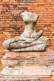 Estátua velha da Buda em Wat Chaiwatthanaram Ayutthaya, Tailândia Foto de Stock Royalty Free