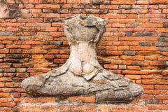 Estátua velha da Buda em Wat Chaiwatthanaram Ayutthaya, Tailândia Fotografia de Stock Royalty Free