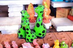 Estátua verde do girafa Foto de Stock