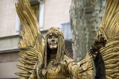 Estátua viva - Las Ramblas Imagem de Stock