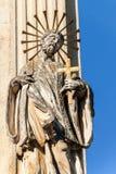 Estátuas barrocos de Saint Detalhe de coluna barroco do praga na cidade de Valtice em Moravia do sul Obra de arte Construído em 1 fotografia de stock