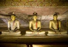 Estátuas da Buda no templo da caverna de Dambulla, templo dourado de Dambulla, Sri Lanka Fotografia de Stock