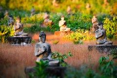 Estátuas das Budas do lote no jardim da Buda de Loumani Hpa-An, Myanmar ( Imagens de Stock Royalty Free