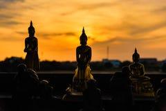 Estátuas de buddha da silhueta no fundo borrado do por do sol tailândia Imagem de Stock Royalty Free