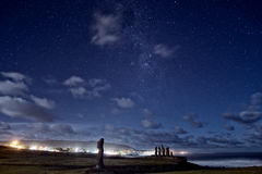 Estátuas de Moai da Ilha de Páscoa sob as estrelas