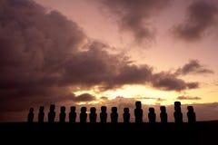 Estátuas de Moai na Ilha de Páscoa Fotos de Stock